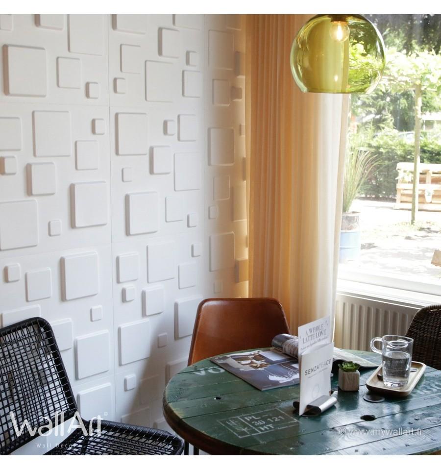 rev tement mural panneaux muraux 3d squares. Black Bedroom Furniture Sets. Home Design Ideas