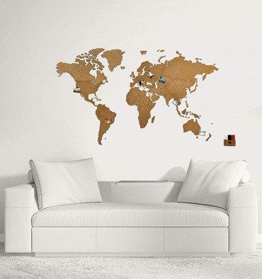 Carte du Monde 3D en Bois - 130x78 cm - Marron