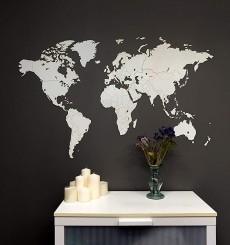 Carte du Monde 3D en Bois - 130x78 cm - Blanc