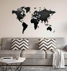 Carte du Monde 3D en Bois - 130x78 cm - Noir