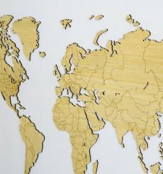 Carte du Monde en Bambou - 130x78 cm - Exclusive