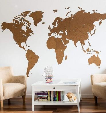 Carte du Monde  Murale Géante - 280x170 cm - Marron