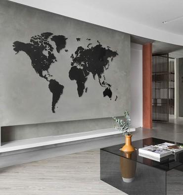 Carte du Monde  Murale Géante - 280x170 cm - Noir