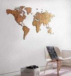 Carte Murale du Monde en Noyer - 130x78 cm - Exclusive