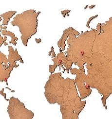 Carte du Monde 3D en Bois - 90x54 cm - Marron