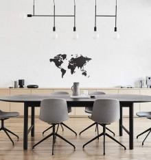 Carte du Monde 3D en Bois - 90x54 cm - Noir