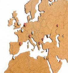 Carte du Monde 3D Bois - 180x108 cm - Marron