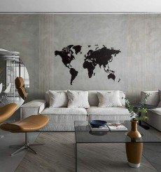Carte du Monde 3D en Bois - 180x108 cm - Noir