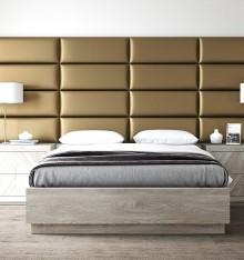 Tête de Lit Panneau Capitonné - Mur Cuir Gold - 91 cm