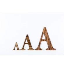 Lettres 3D en bois Zebrano - 50mm à 200mm