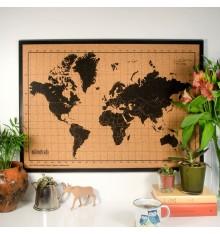 Carte du Monde en Liège - 70x50 cm - Noir