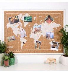 Carte du Monde en Liège - 70x50 cm - Blanc