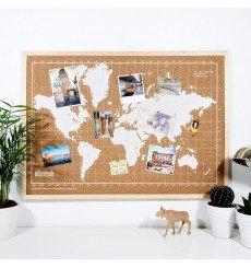 Carte du Monde en Liège - 70x50 cm - Nature - Blanc