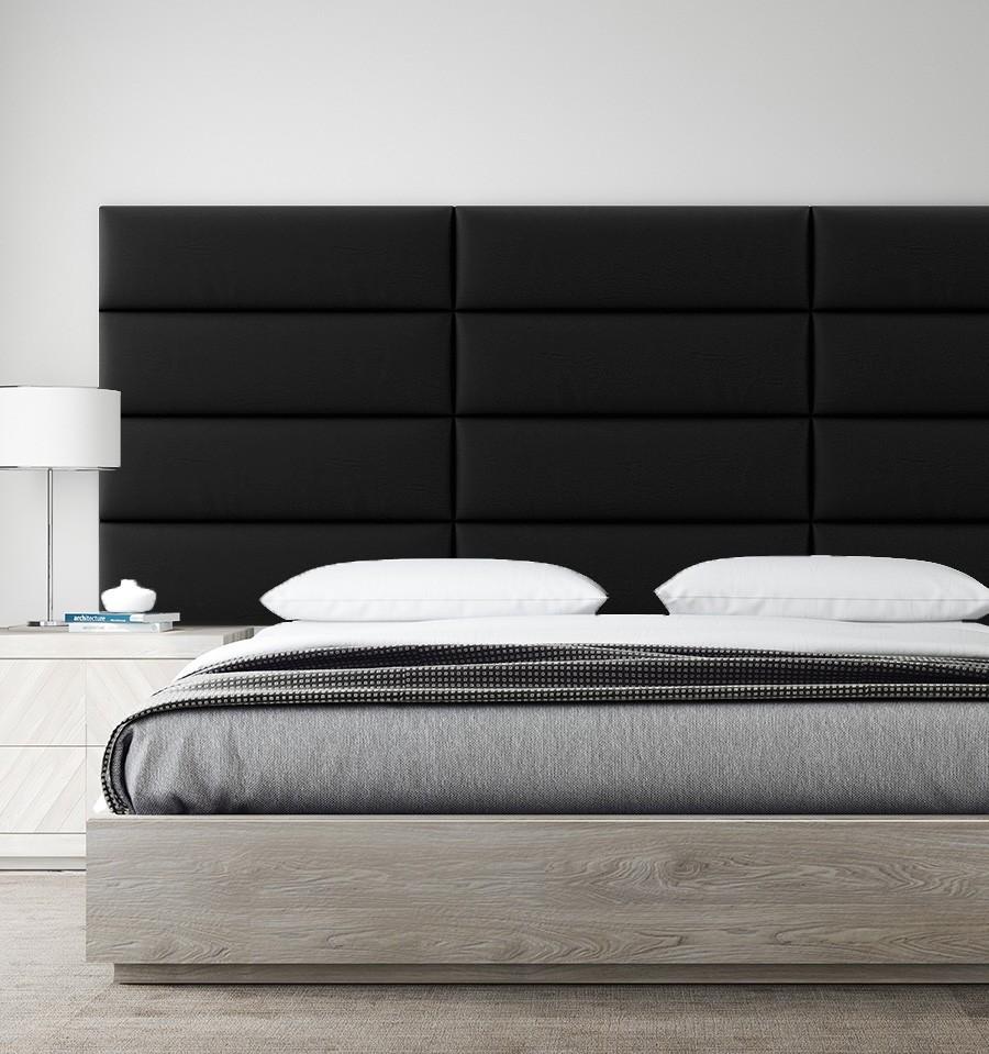 tete de lit panneau capitonne cuir noir simili 91cm