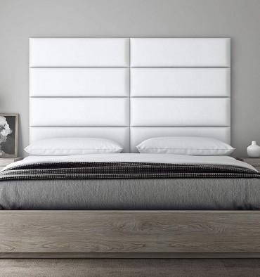 Tête de Lit Mur Capitonné - Cuir Blanc simili - 91cm