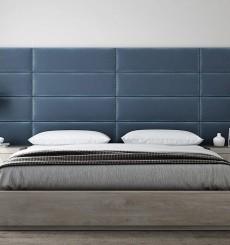 Tête de Lit Capitonnée - Simili Bleu Paon - 76 cm