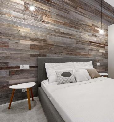 Mur en Bois Intérieur Gris Silver Wooden Wall