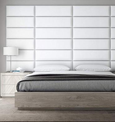 Panneau Mural Rembourré - Cuir Blanc simili - 76 cm