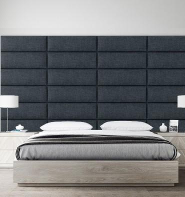 Tête de Lit Capitonné Hôtel  - Tissu Bleu - 91 cm