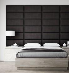 Tête de Lit Luxe Capitonné - Tissu Noir - 91 cm