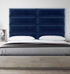 Tête de Lit Capitonnée - Mur Bleu Roi Simili - 91 cm
