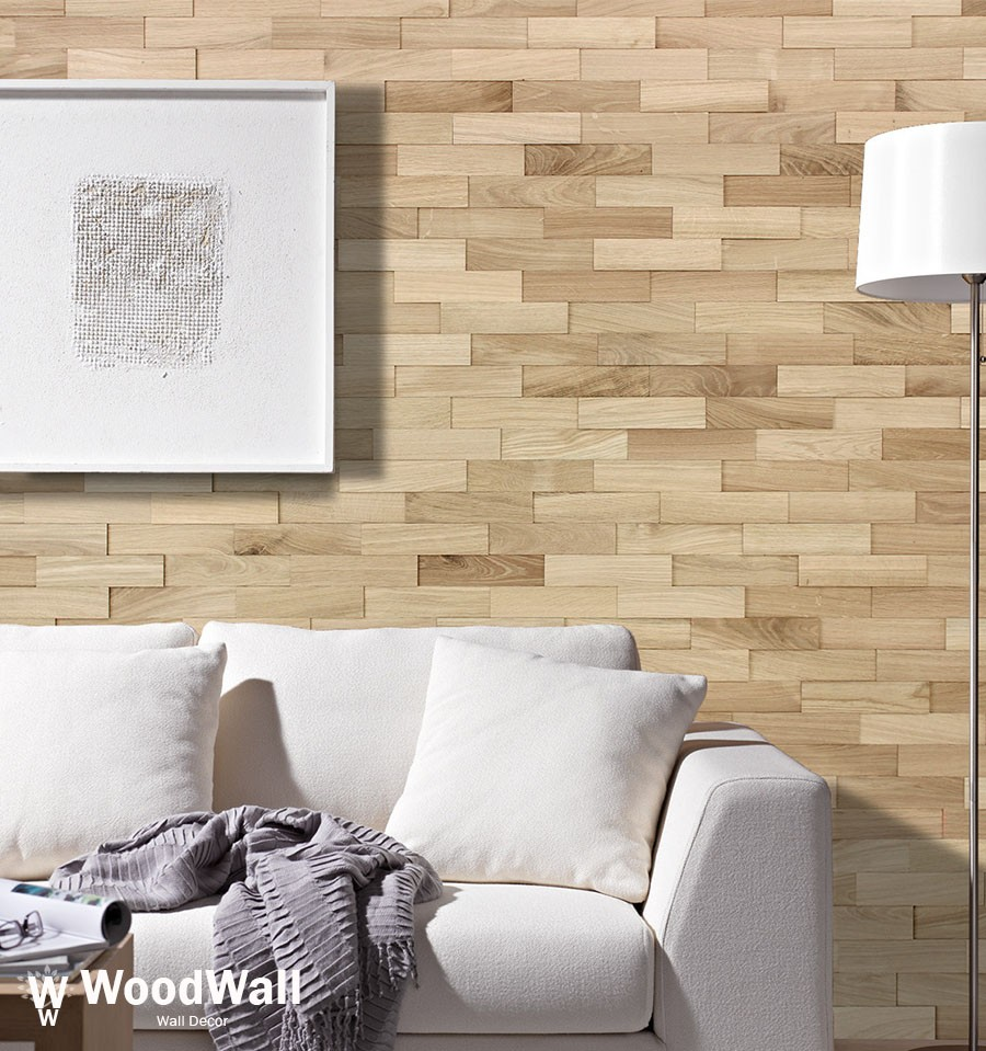 Idee Parement Mur Interieur parement bois chêne nature woodwall
