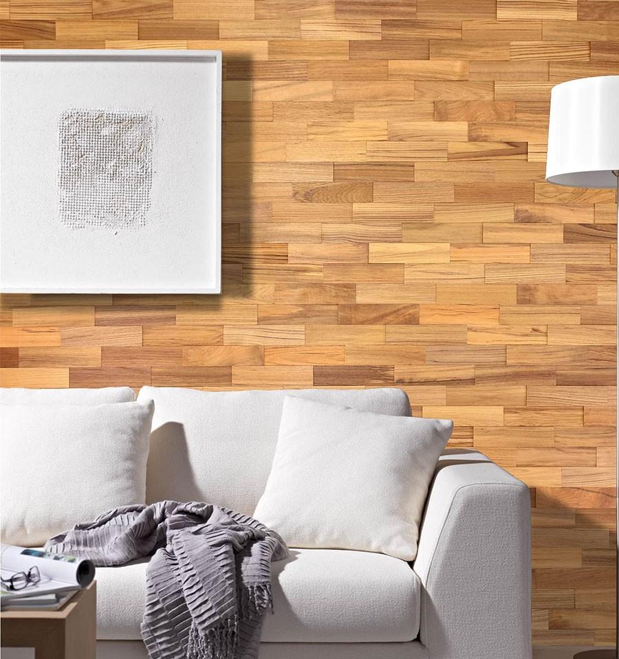 Rev tement mural bois teck plaquettes de parement bois Revetement mural cuir