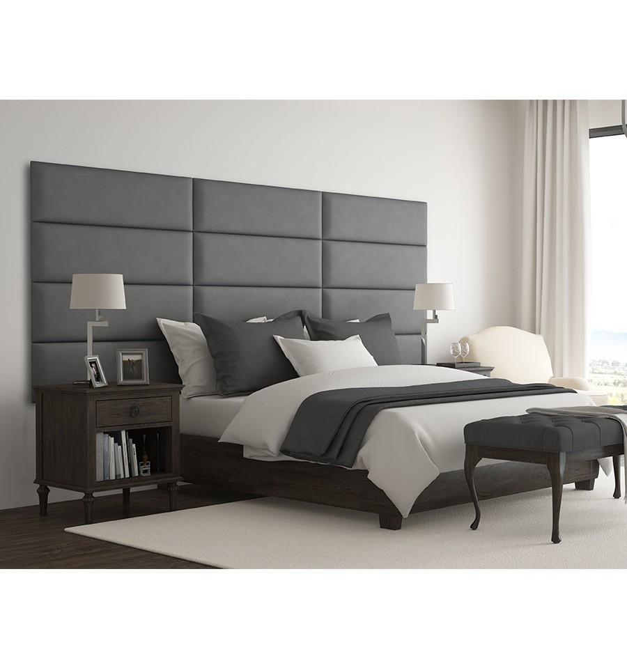 Lit Avec Tete De Lit Matelassé tête de lit panneau capitonné - simili gris - 91 cm