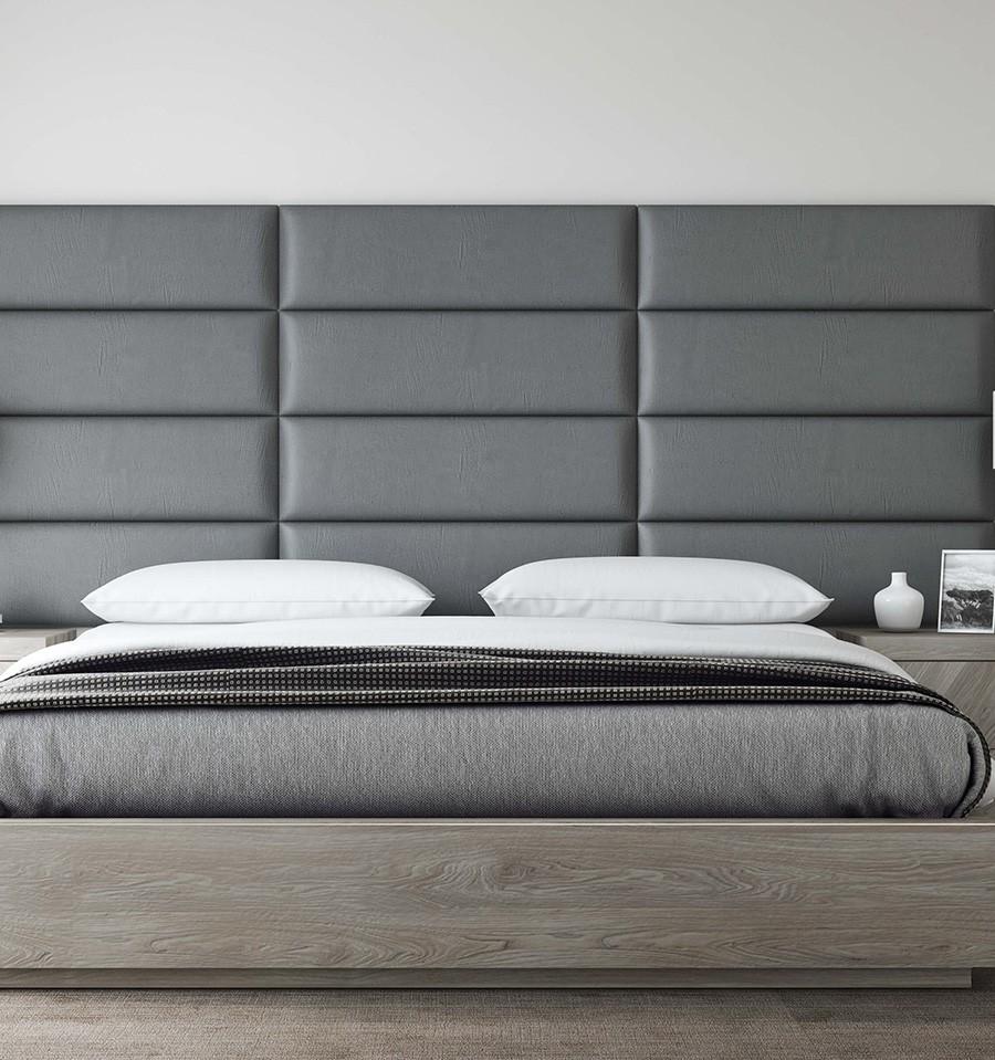 Decoration Murale Pour Tete De Lit tête de lit panneau capitonné - mur cuir gris - 91 cm