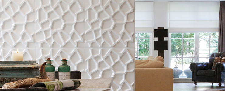 Idee de deco pour un salon moderne et design : panneau mural 3d
