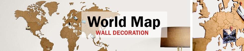 CARTE DU MONDE BOIS - Décoration murale
