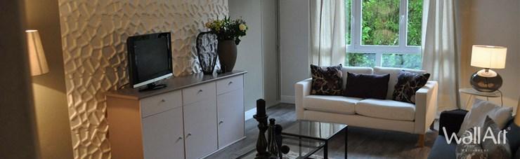 déco salon : idée de déco salon moderne avec les panneaux déco 3d Wallart.