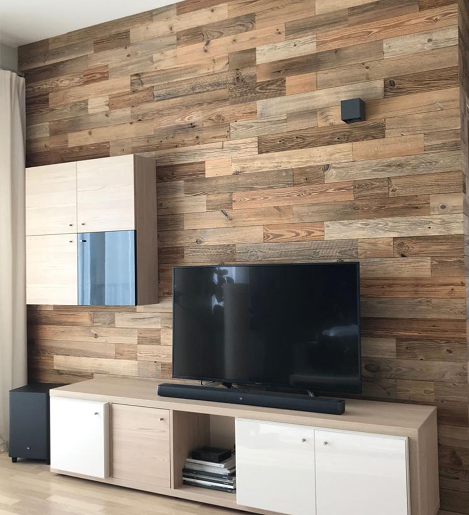 Idee Habillage Mur Interieur parement bois massif nature wooden wall